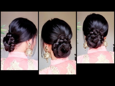 Quick Easy Braided Bun Hairstyle for Wedding
