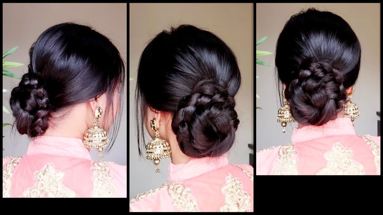 quick easy braided bun hairstyle for parties//indian wedding guest  hairstyle for medium to long hair