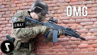 SWAT Officer tries Airsoft and DESTROYS Everyone. thumbnail