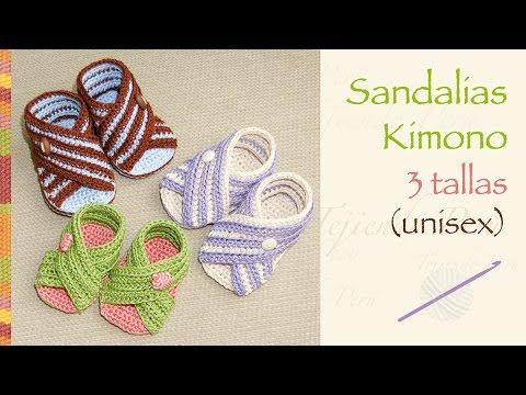 Sandalias kimono para bebés tejidas a crochet (unisex en 3 tallas ...