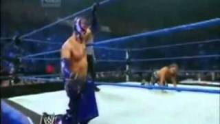 Shawn Michaels Sweet Chin music on Rey Mysterio in mid-air