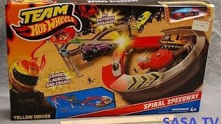 Hot Wheels Spiral Speedway Crank, Launch and Crash Racetrack and Car
