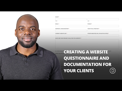 Creating a Website Questionnaire and Documentation for your Clients