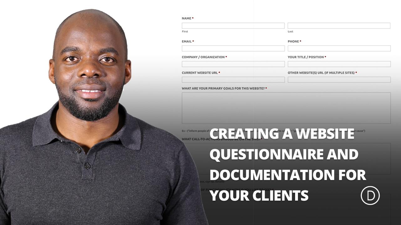 website questionnaire for clients pdf