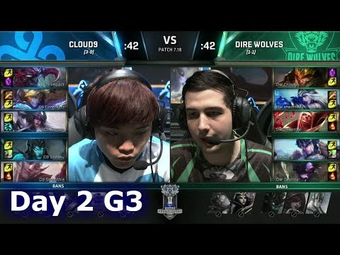 Cloud 9 vs Dire Wolves | Day 2 of S7 LoL Worlds 2017 Play-in Stage | C9 vs DW G2