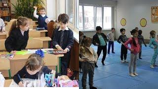 Саша на уроке физкультуры... 1-Т...День Николая