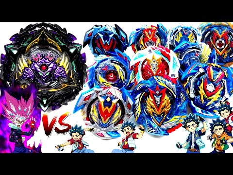 LUCIFER THE END vs ALL VALKYRIES EVOLUTIONS GEN Beyblade Burst Sparking Surge Battleベイブレードバースト超王