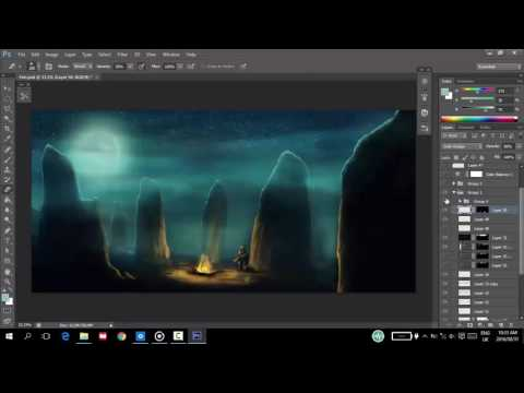 Digital painting fantasy landscape tutorial
