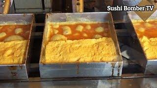 Japanese Street Food - Omelette Tamagoyaki and Mini Castella Cake