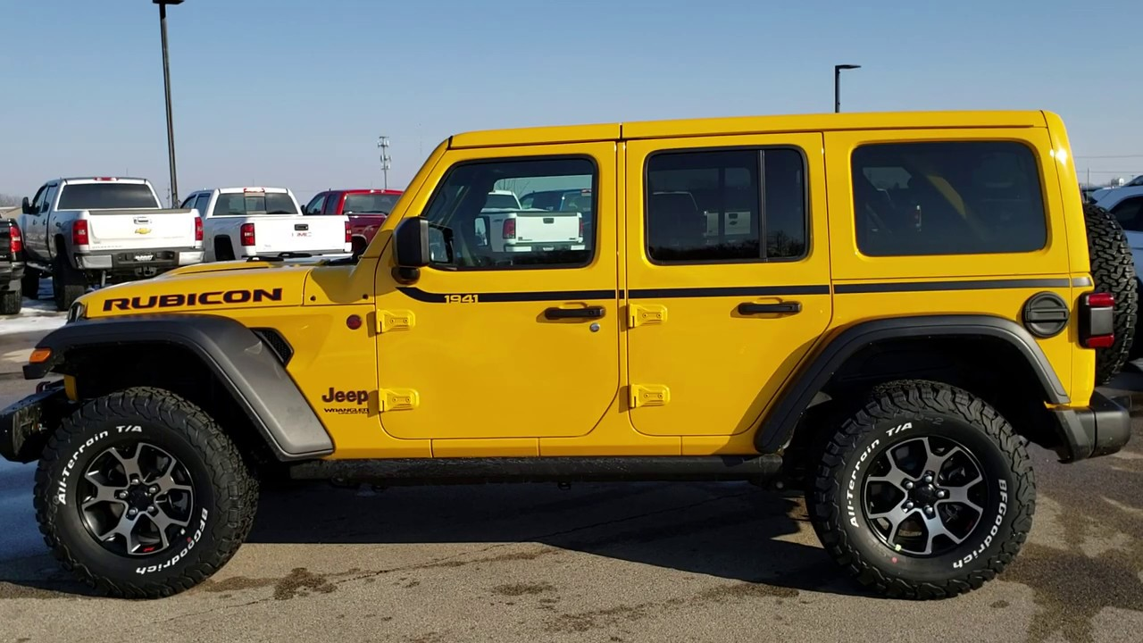 9j241 2019 Jeep Wrangler Unlimited Rubicon Hellayella Yellow Walk Around Review Www Summitauto Com