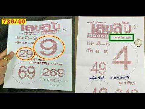 หวยซองเลขลับ งวดวันที่ 02/05/60 (งวดที่แล้วเข้าบน 29)