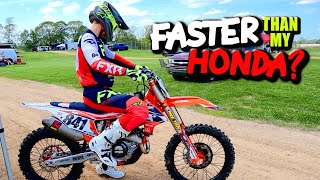 Is the New KTM 450 Faster than my Honda?? *Lap Time Comparison*