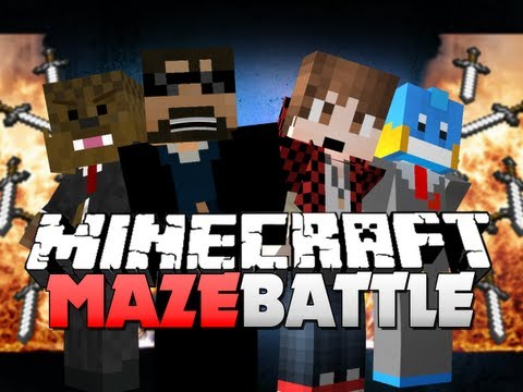 Minecraft MAZE BATTLE!! TASTE MY BLADE OF KILLING!! (Bajan, Husky and Jerome)