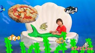 海にピザの配達!?? 人魚 ピザ屋さんごっこ アイス屋さんごっこ 顔の色が変わってる!?? おゆうぎ こうくんねみちゃん
