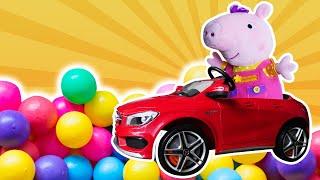 Весёлые игры для детей - Свинка Пеппа едет играть в бассейн с шариками! - Видео сборник с игрушками.
