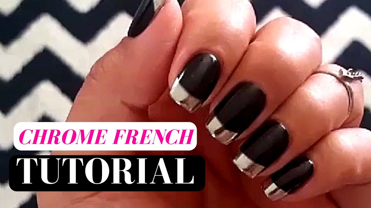 How to Chrome nails French Tip TUTORIAL - YouTube