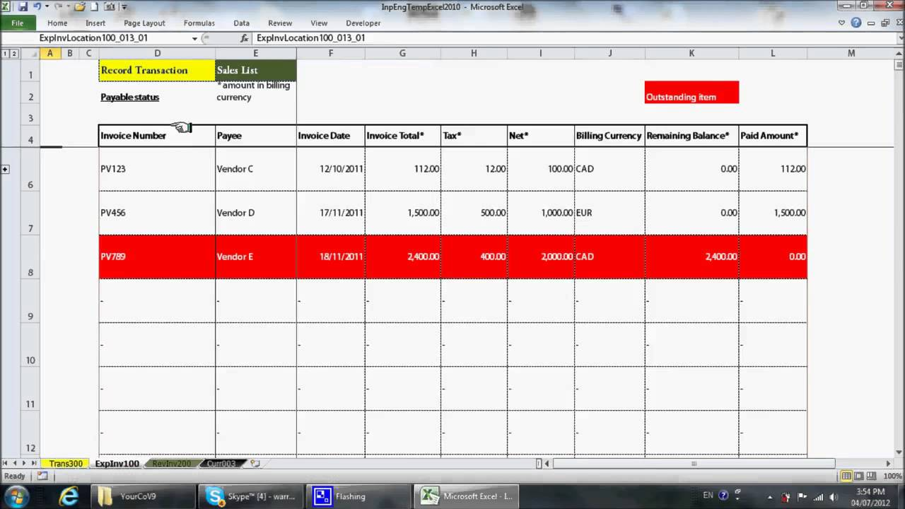 simple excel bookkeeping template youtube