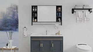 럭셔리 욕실 세면대 다용도 슬라리딩 수납장 수건장