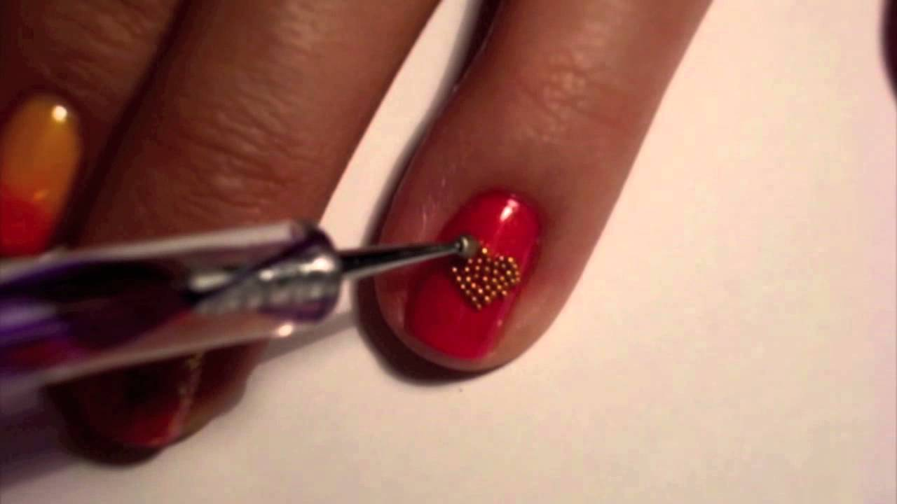 GRADIENT MICROBEAD NAIL ART HEART TUTORIAL - YouTube