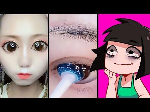 ЧТО У НЕЕ С ГЛАЗАМИ? Реакция на ТОП Лайфхаков и DIY по корейскому макияжу