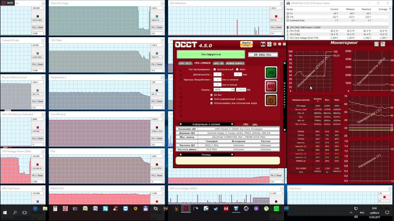 ryzen 1600X OCCT test 10 min cpu usage DROP