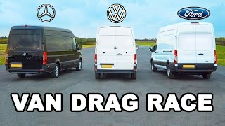 Mercedes Sprinter vs Ford Transit vs VW Crafter - VAN DRAG RACE, ROLLING RACE & BRAKE TEST