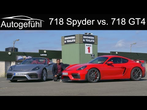 Porsche 718 Cayman GT4 vs 718 Spyder FULL REVIEW comparison - the six-cylinders return!