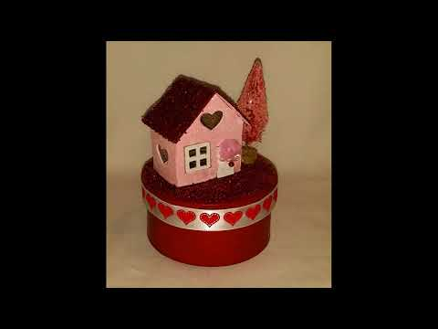 Valentine's Day Putz Decorated Cottage Houses