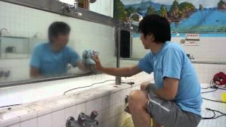 浴場清掃作業の様子-アクア特殊浴場清掃