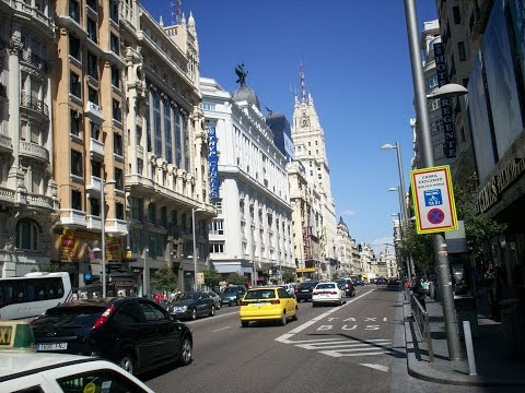 Downtown Streets in Madrid, Spain