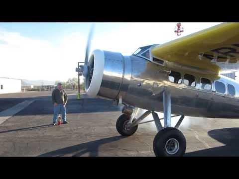 Starting the R985 engine on the Lockheed Vega