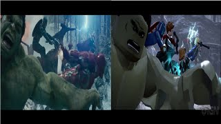 Avengers: Age of Ultron opening scene and Lego Marvel Avengers cutscene- Side by side comparison