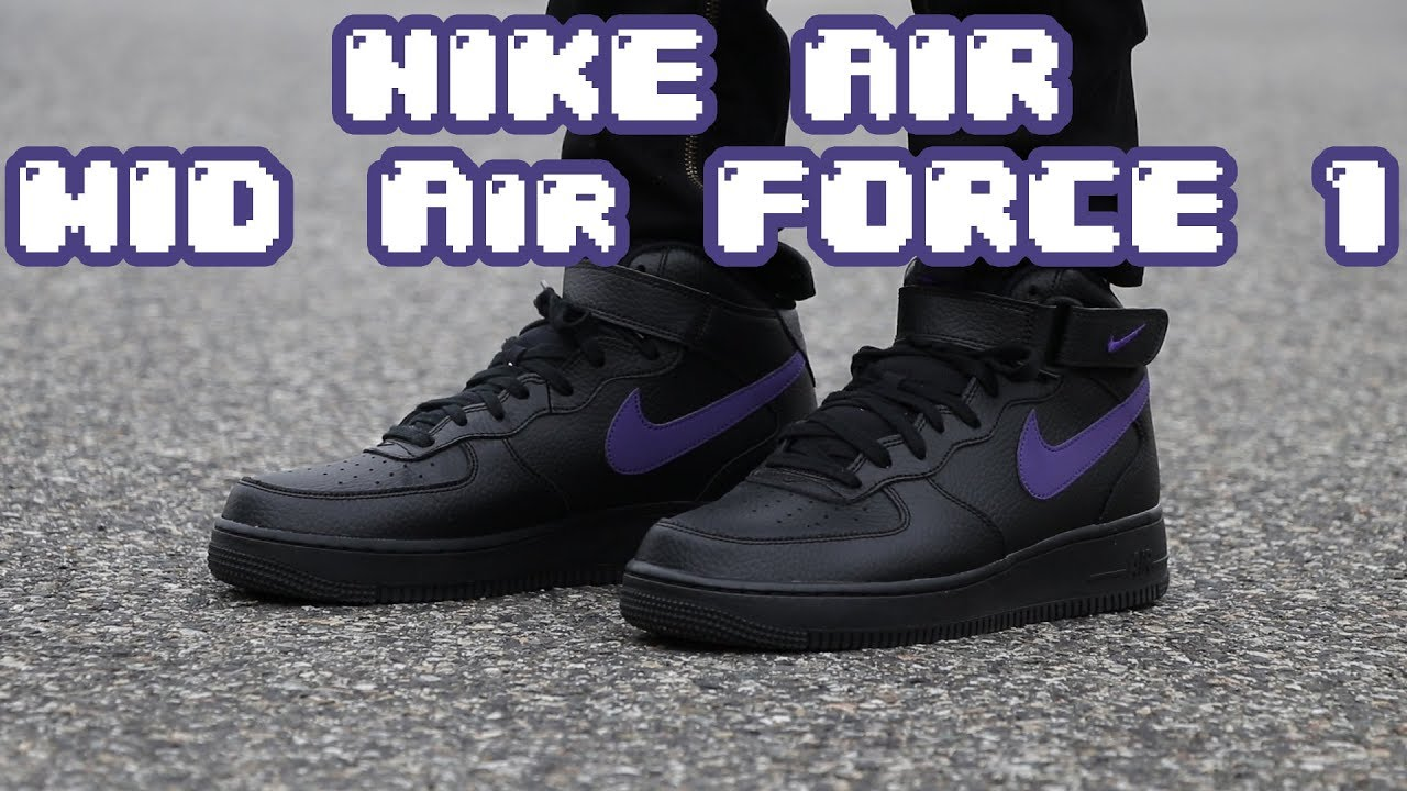 Nike Air Force 1 Mid Review On Feet Black Purple 3m Youtube