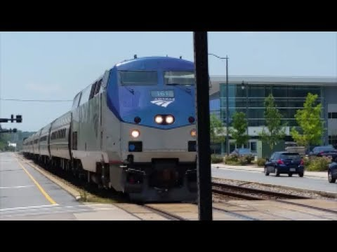 [AMTRAK]161 GE P42-8DC Solo Phase V Leads P090-21 Making A Station Stop In Fay NC & Nice K5LA NB