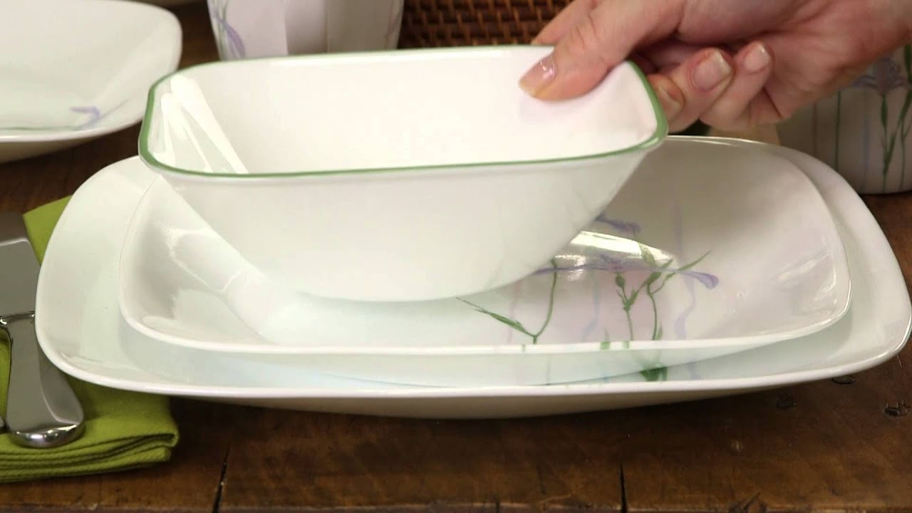 & Corelle - Shadow Iris 16 Piece Dinnerware Set - YouTube