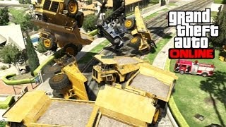 GTA 5 Online - Gate Glitch with Dump Trucks + Dock Loaders! Funny Moments