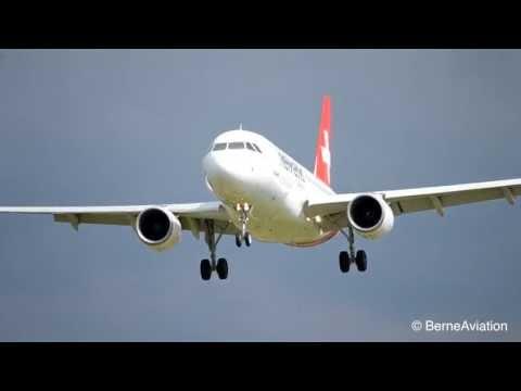 Helvetic Airways' new Airbus A319 - Landing at airport Bern-Belp HD