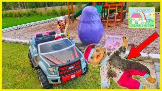 Little Girl finds Baby Dolls and Giant Egg Surprise in our Backyard!