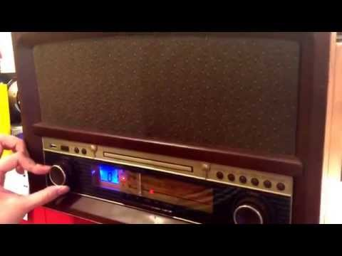 RETRO STYLED ALL IN ONE PLAYER- Turntable/CD/ FM radio/ MP3 (via USB)/ Bluetooth/ Cassette - Player