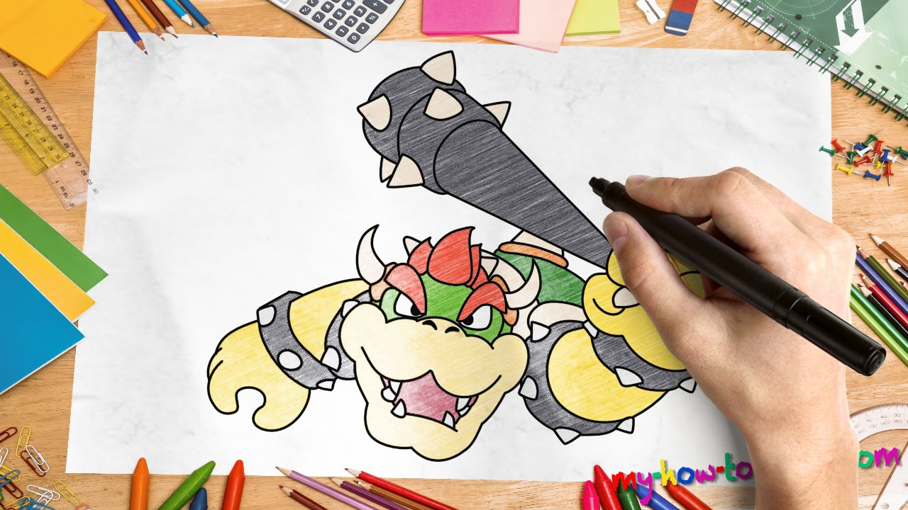 How To Draw Bowser Easy Step By Step Drawing Lessons For Kids