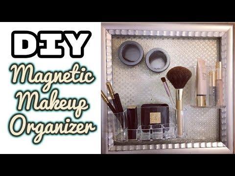 Easy Makeup Organizer, Metallic Wall Makeup Organizer