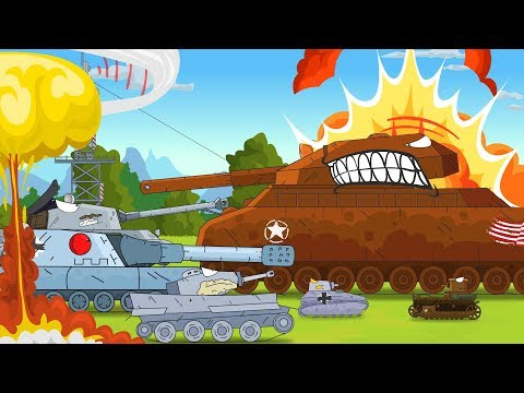 Cartoon about battle 45 MIN full movie. Tank for kids. Monster Truck VS tank.