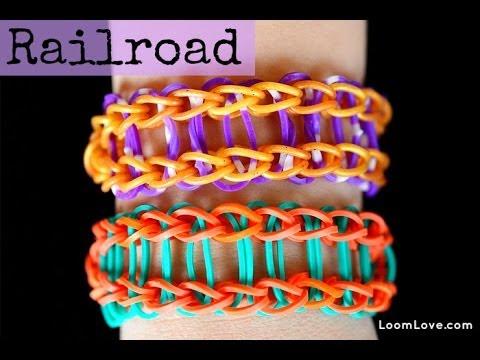 How To Make The Railroad Rainbow Loom Bracelet Easy Youtube