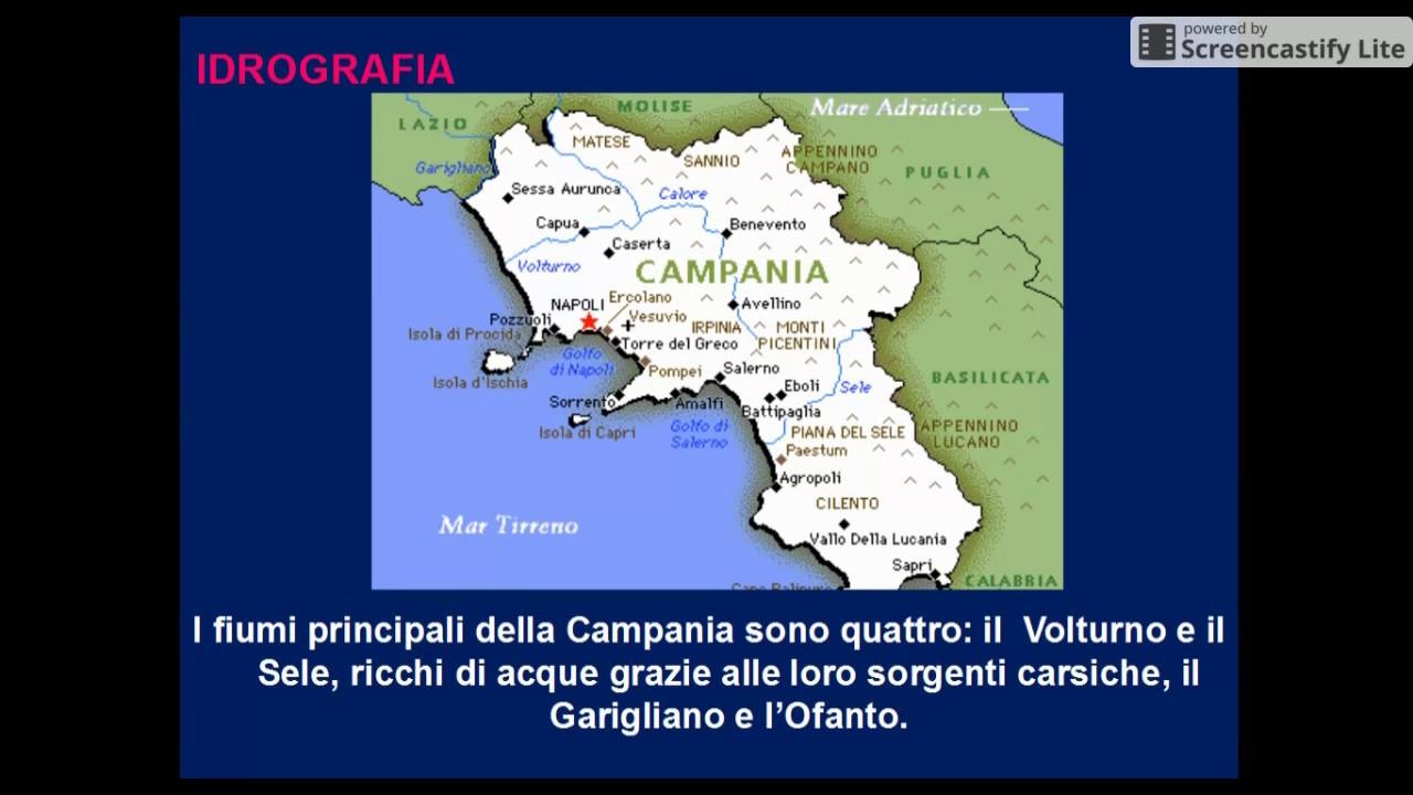 Cartina Fiumi Campania.Geografia 1 0 1 La Campania Youtube