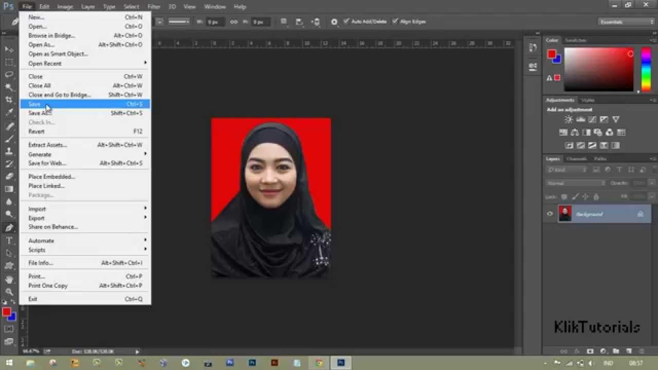 Cara Merubah Background Pas Foto di Photoshop HD - YouTube