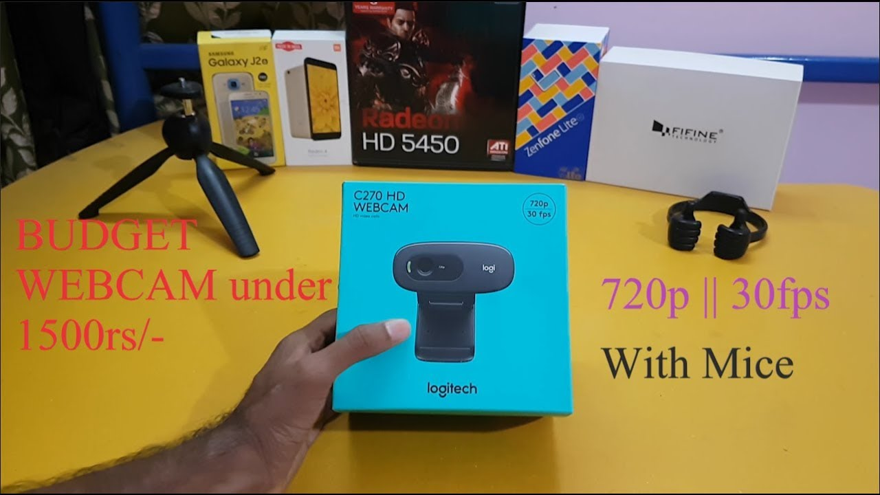 LOGITECH C270 HD Webcam || BEST 720p cam under 1500rs unboxing and review