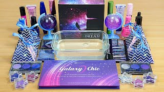 GALAXY SLIME Mixing makeup and glitter into Clear Slime Satisfying Slime Videos