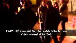 Бенедикт Камбербэтч разговаривает с фантами,на сьемках Шерлок Холмс 3 сезон)!