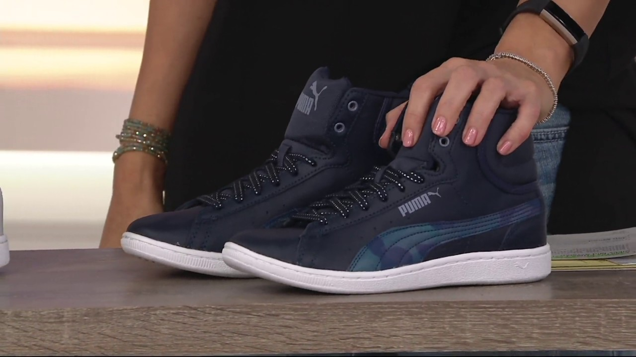 68b691fd64d819 PUMA Leather Hightop Sneakers - Vikky Mid Scratch on QVC - YouTube