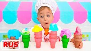 Никита играет в магазин мороженого